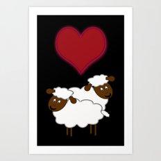 Sheeps in Love Art Print