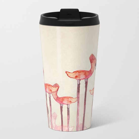 Transmogrified Flamingo Colony Metal Travel Mug