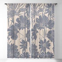 Festive, Wildflower Print, Blush and Navy Sheer Curtain