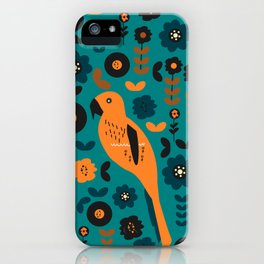 Parrot and flowers iPhone Case