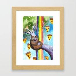 sloth pizza rainbow Framed Art Print