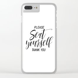 Printable Please Seat Yourself Thank You Wall Art, Funny Bathroom Wall Art Prints Clear iPhone Case