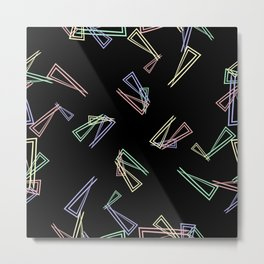 Patterns from flowing lines and triangles in white multi colored tones for fabric or decorations. Metal Print