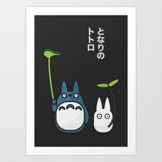 Chu & Chibi Totoro Pop art - Black Version Art Print