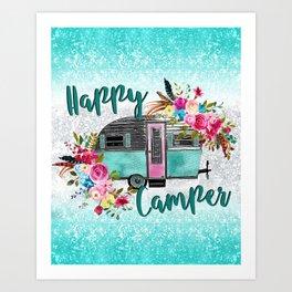 Happy Camper Flowers Art Print