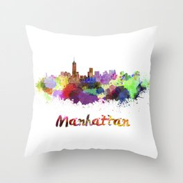 Manhattan skyline in watercolor Throw Pillow