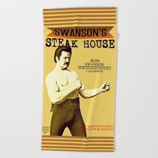 Ron Swanson  |  Steak House Parody |  Parks and Recreation Beach Towel