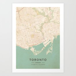 Toronto, Canada - Vintage Map Art Print