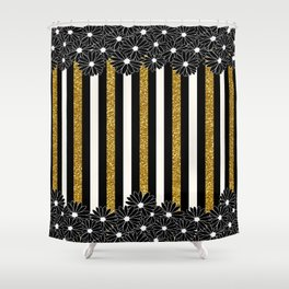 Black Daisies with Gold Glitter Stripes Shower Curtain