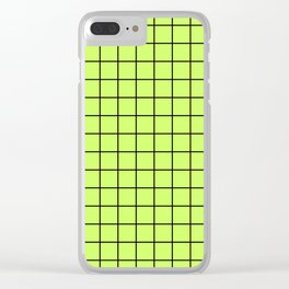 Lime Green with Black Grid Clear iPhone Case