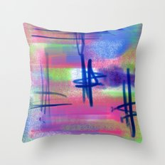 Blue Scribble Background Throw Pillow