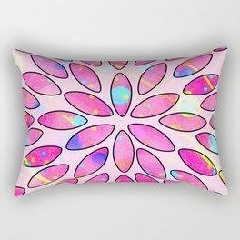 Pop Pink Splash Flower Leaves Pattern Rectangular Pillow