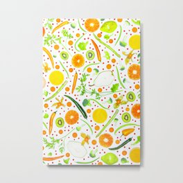 Fruits and vegetables pattern (13) Metal Print