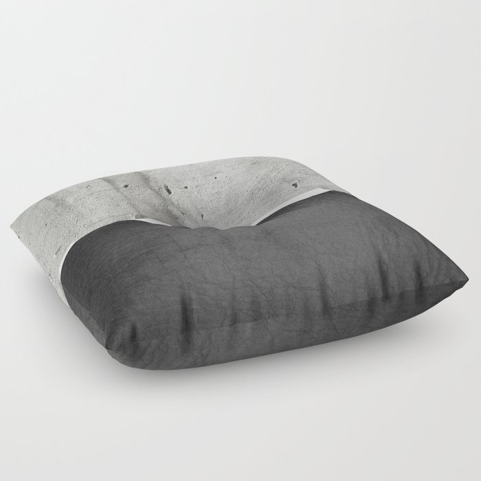 Raw Concrete and Black Leather Floor Pillow by cafelab | Society6