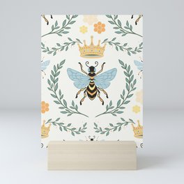 Queen Bee with Gold Crown and Laurel Frame Mini Art Print