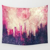 city Wall Tapestries featuring Mysterious city by SensualPatterns