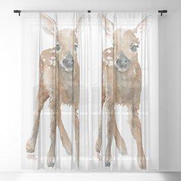 Deer Fawn 3 Watercolor Sheer Curtain