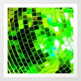 Funky Green Disco Ball Art Print