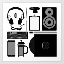 Studio Objects Vector Illustration Art Print