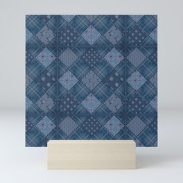 Seamless jeans denim patchwork pattern background Mini Art Print