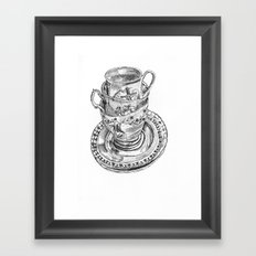 Stacked Tea Cups Framed Art Print