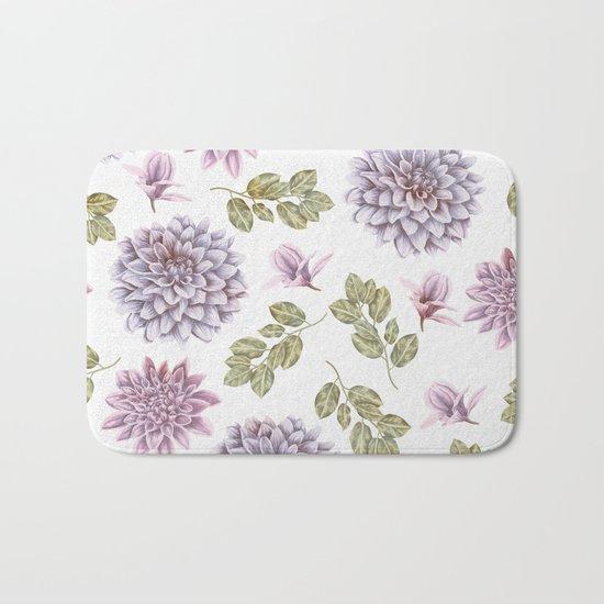 Lavender Rose Garden Floral Pattern Bath Mat
