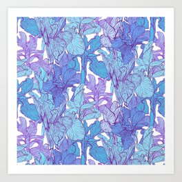 Blue graphic iris Art Print
