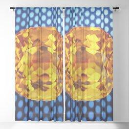 SPARKLING GOLDEN MADEIRA TOPAZ GEM BLUE PATTERN Sheer Curtain