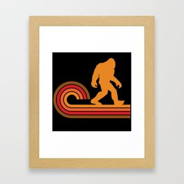 Retro Style Bigfoot Silhouette Sasquatch Framed Art Print