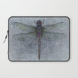 Dragonfly on blue stone and metal background Laptop Sleeve