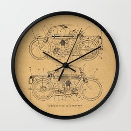 Motorcycle Diagram Wall Clock