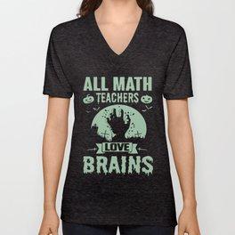 all math teacher love brains pumkins stan december math Unisex V-Neck