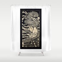 geisha Shower Curtains featuring Geisha by Mario Sayavedra