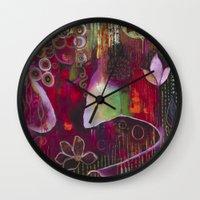 "flora bowley Wall Clocks featuring ""Surrender"" Original Painting by Flora Bowley by Flora Bowley"
