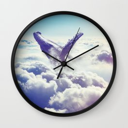 Cloudy whale Wall Clock