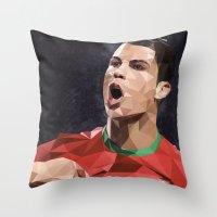 ronaldo Throw Pillows featuring Cristiano Ronaldo CR7 by Trimm Illustrations