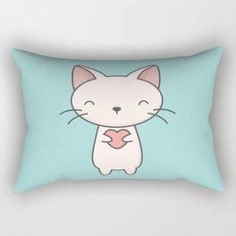 Kawaii Cute Cat With Heart Rectangular Pillow