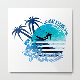 Caribbean Cruisin Blue Surfing Design Metal Print