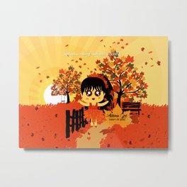 Autumn Girl Metal Print