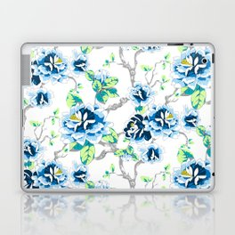 Chinoiserie Ming style Blue Floral on White Pattern Spring Flowers Shabby Chic Laptop & iPad Skin