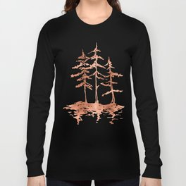 Three Sisters Trees Rose Gold on White Long Sleeve T-shirt