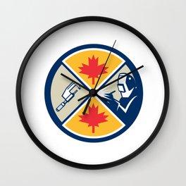 Millwright Caliper Welder Maple Leaf Circle Retro Wall Clock
