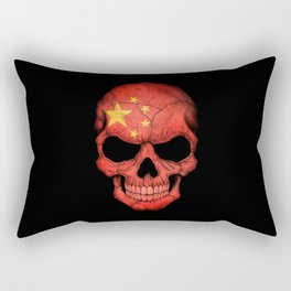 Dark Skull with Flag of China Rectangular Pillow