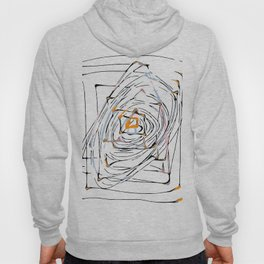 drawing square triangle and circle pattern abstract in orange blue and pink Hoody