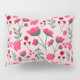 Pink Poppies Seamless Illustration Pillow Sham