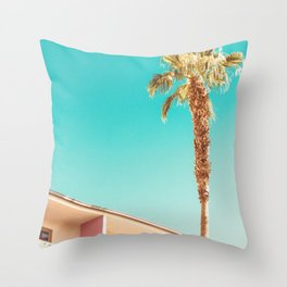 Palm Tree at the Saguaro Palm Springs Photography Print Throw Pillow