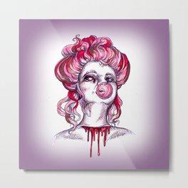 Bloody Bubblegum Gibson Girl Metal Print