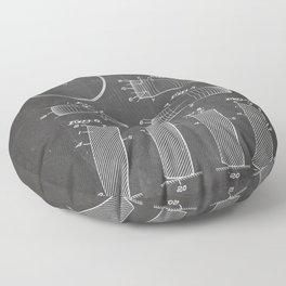Ice Hockey Patent - Hockey Puck Art - Black Chalkboard Floor Pillow