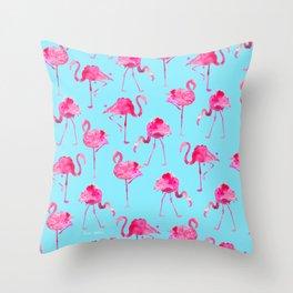 Floridian Flamingos - Blue Throw Pillow