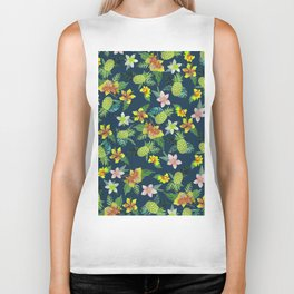 Tropical lime green coral navy blue pineapple watercolor floral Biker Tank